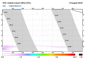 OMI - SO2 vertical column of 08 August 2018