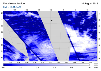 OMI - Cloud cover fraction of 10 August 2018