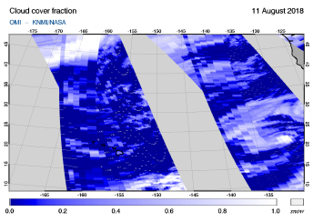 OMI - Cloud cover fraction of 11 August 2018