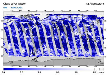 OMI - Cloud cover fraction of 12 August 2018