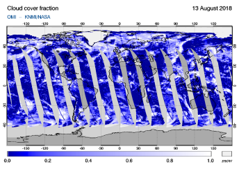 OMI - Cloud cover fraction of 13 August 2018
