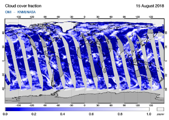 OMI - Cloud cover fraction of 15 August 2018
