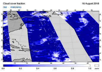 OMI - Cloud cover fraction of 16 August 2018