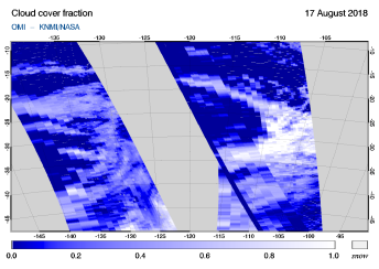 OMI - Cloud cover fraction of 17 August 2018