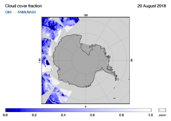 OMI - Cloud cover fraction of 20 August 2018