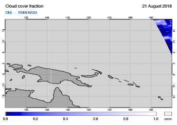 OMI - Cloud cover fraction of 21 August 2018