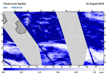 OMI - Cloud cover fraction of 22 August 2018