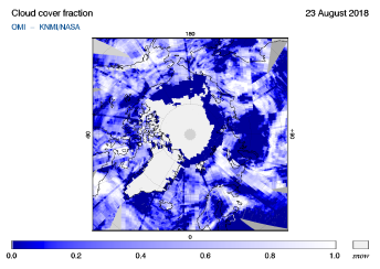 OMI - Cloud cover fraction of 23 August 2018