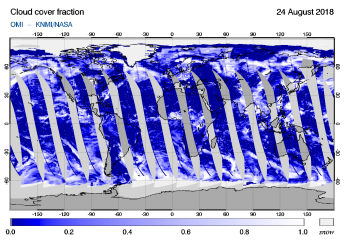 OMI - Cloud cover fraction of 24 August 2018