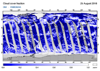 OMI - Cloud cover fraction of 25 August 2018