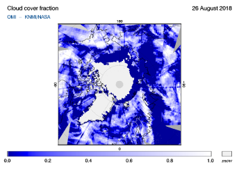OMI - Cloud cover fraction of 26 August 2018
