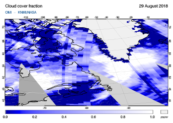 OMI - Cloud cover fraction of 29 August 2018