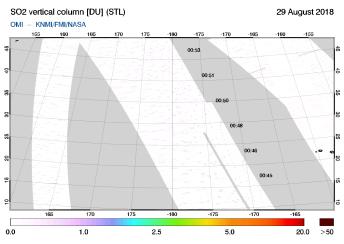 OMI - SO2 vertical column of 29 August 2018