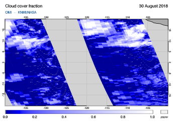 OMI - Cloud cover fraction of 30 August 2018