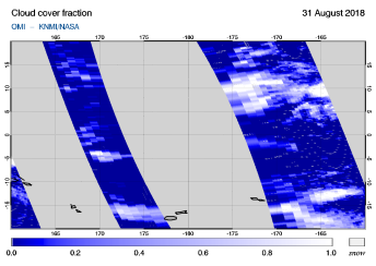 OMI - Cloud cover fraction of 31 August 2018