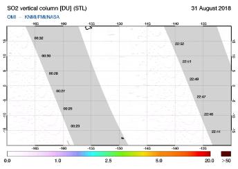 OMI - SO2 vertical column of 31 August 2018