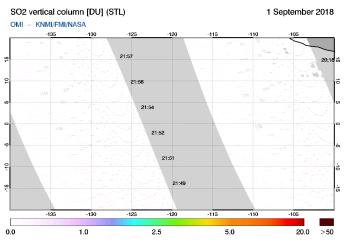 OMI - SO2 vertical column of 01 September 2018