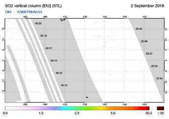 OMI - SO2 vertical column of 02 September 2018