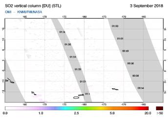 OMI - SO2 vertical column of 03 September 2018