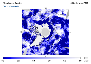 OMI - Cloud cover fraction of 04 September 2018