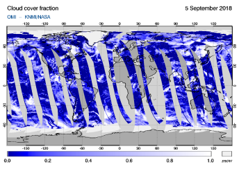 OMI - Cloud cover fraction of 05 September 2018