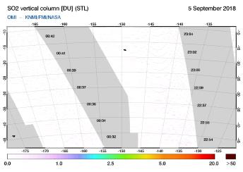 OMI - SO2 vertical column of 05 September 2018