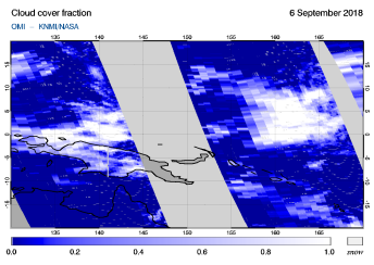 OMI - Cloud cover fraction of 06 September 2018