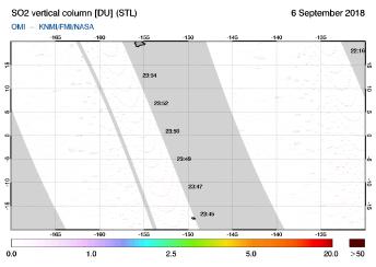 OMI - SO2 vertical column of 06 September 2018