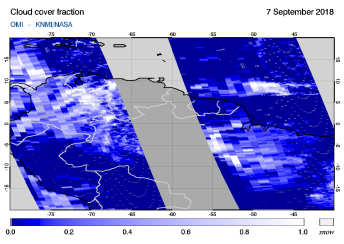 OMI - Cloud cover fraction of 07 September 2018