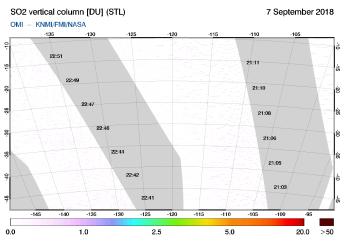 OMI - SO2 vertical column of 07 September 2018