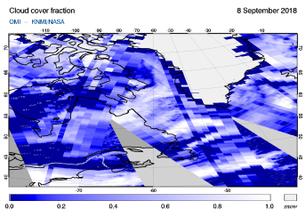 OMI - Cloud cover fraction of 08 September 2018