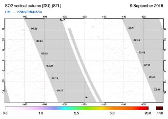 OMI - SO2 vertical column of 09 September 2018