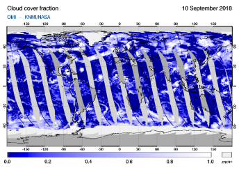 OMI - Cloud cover fraction of 10 September 2018