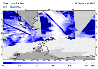 OMI - Cloud cover fraction of 11 September 2018