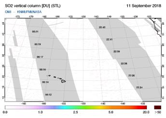 OMI - SO2 vertical column of 11 September 2018