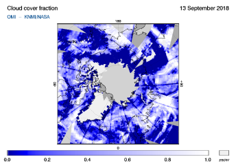 OMI - Cloud cover fraction of 13 September 2018