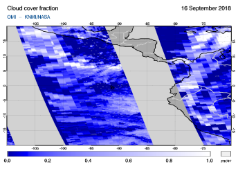 OMI - Cloud cover fraction of 16 September 2018