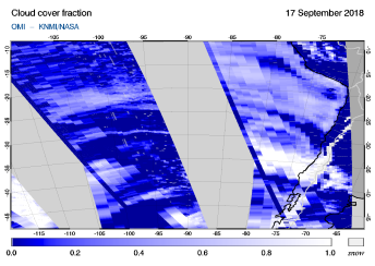 OMI - Cloud cover fraction of 17 September 2018