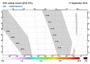 OMI - SO2 vertical column of 17 September 2018