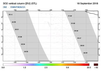 OMI - SO2 vertical column of 18 September 2018