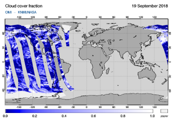 OMI - Cloud cover fraction of 19 September 2018