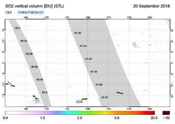 OMI - SO2 vertical column of 20 September 2018