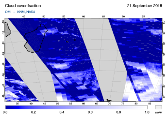 OMI - Cloud cover fraction of 21 September 2018