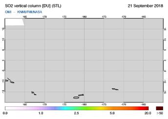 OMI - SO2 vertical column of 21 September 2018