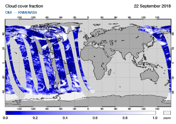 OMI - Cloud cover fraction of 22 September 2018