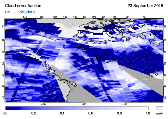 OMI - Cloud cover fraction of 23 September 2018