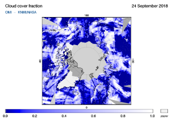 OMI - Cloud cover fraction of 24 September 2018