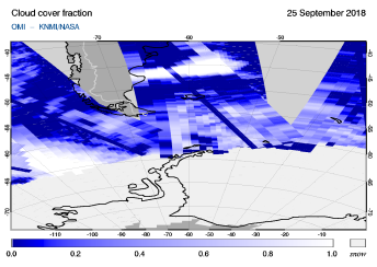 OMI - Cloud cover fraction of 25 September 2018