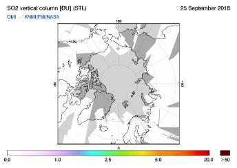 OMI - SO2 vertical column of 25 September 2018