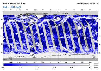 OMI - Cloud cover fraction of 26 September 2018